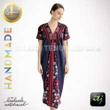 Handmade Midi Dress Batik Pesta Wanita Tenun Ikat Troso Kombinasi