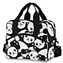 Panda Cute Panda Lunch Bags For Women Black White Lunch Tote Bag Lunch Box Water-Resistant Thermal Cooler Bag Lunch Organizer For Working Picnic Beach Sporting