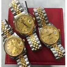 Roscani Men Silver Gold Date Quartz Watch