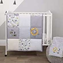 Lion Little Love By Nojo Roarsome Lion, Grey, Yellow, White 3Piece Nursery Mini Crib Bedding Set With Comforter, 2 Fitted Mini Crib Sheets, Yellow, Grey, White, Charcoal