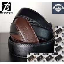 Brewyn Nara Series - Ikat Pinggang Pria Rel Gesper Sabuk Kulit - Free Exclusive Gift Box