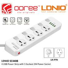 LDNIO Sc4408 Extension Socket 4 Universal Power Sockets 4 Usb Ports Charger Adapter 3.4A Power Strip Surge Protector