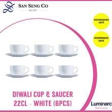 Luminarc San Seng Diwali Cup & Saucer 22CL - White (6pcs) imported microwave safe hot cold coffee tea water drink mug