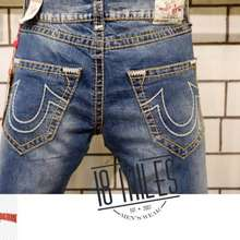 True Religion ☈ Celana Jeans Geno Slim Stretch Faded Ripped Washed Mirror Quality ۩