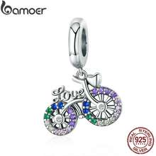 BAMOER 925 Sterling Silver Bicycle Charm Pendant For Bracelet Scc1082