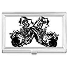 Rider Diylab Black Motorcycle Rider Motorcycle Pattern Business Card Holder Case Wallet