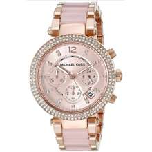 Michael Kors Authentic Original Women'S Parker Crystal Chronograph Rose Pleated Watch Mk5896