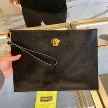 Versace Saffiano Leather Gold Medusa Pouch