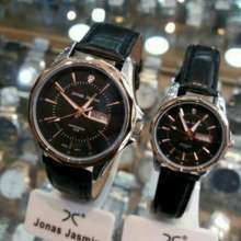 Jonas Jasmin Jam Tangan Couple Date And Day Leather Black Original