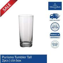 Villeroy & Boch Purismo Tumbler Tall Drinking Glass Cup Crystalline Glass from Germanyfor Water Soft Drink & Juices 12.5ozs/370ml [SET OF 2 PCS] Crystal glass