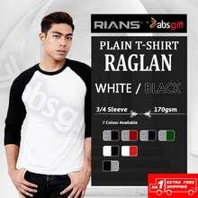 Rians (Raglan 3/4 Sleeve) - Body White / Sleeve Black, 170Gsm (Men/Women) Cotton Round Neck Tshirt
