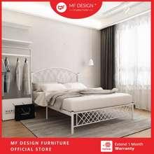 MF Design Kingdom Super Base Queen Size Metal Bed Frame Single Bed Katil Bujang White Katil Besi Putih Queen