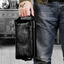 Padieoe Men Genuine Leather Clutch Bag Large Capacity Purse Business Fashion Handbag Men Wallet Handbags Black - intl
