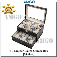 AMGO Premium Quality 20 Slots Watch Case Box Pu Leather Container Anti-Dust Jewelry Jewellery Storage Display Organizer