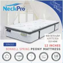NeckPro Peony [Single] Bonnell Spring Export Quality Mattress (12 Inch Thickness) (10 Years Warranty)