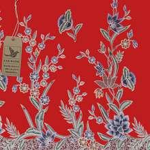 Cek Batik - Kain Batik Motif Bunga Mekar Unik Merah Manis