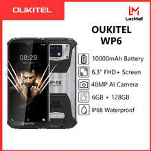 """OUKITEL WP6 6.3"""" 6GB 128GB 48MP 10000mAh IP68 Waterproof 19.5:9 mobile phone 16.0MP Front Camera Triple Camera MT6771T Dust Shock cellphone 9V/2A Fast charger smartphone (Black)"""
