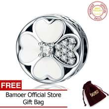 ec2f69bfc BAMOER Free Shpping Authentic 925 Sterling Silver Heart-Shaped Petals of  Love Clover Beads fit