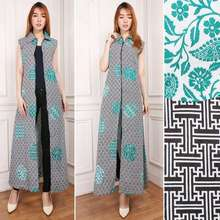 Blazers Glow fashion Blazer batik 2in1 dress maxi panjang atasan blouse long tunik kemeja wanita jumbo shirt maxi dress Brina (Int:XL, …)