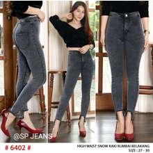 CELANA JEANS CEWEK SP JEANS - Celana Jeans Wanita High Waist - Snow Kaki Rumbai Belakang - Soft Jeans Premium - ( BAYAR DITEMPAT ) (Pinggang:27, Snow Black)
