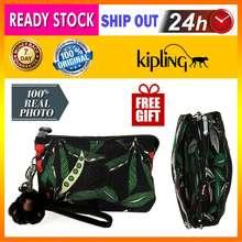 Kipling Ready Stock*Authentic Creativity Pouch Woman Purse Clutch Wristlet(Latin Flower) *Free Gift (Kp050)