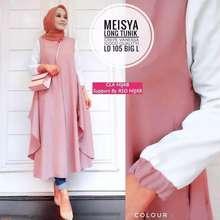 meghan fashion Meghan Shop / Long Tunik Meisy / Pakaian Wanita / Tunik / Gamis / Pakaian Muslimah (Int:XS, Blush Pink)
