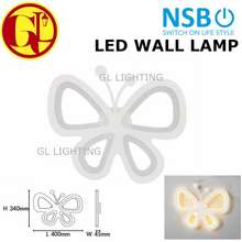 NSB [Ready Stock] Led Modern Butterfly Wall Lamp Indoor Bathroom Bedroom Living Room Art Decoration