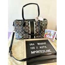 Coach Auth Bnew Sig. Nancy Stripe Satchel Women'S Shoulder Bag F30662 $358