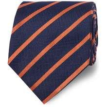 T.M.Lewin Stripe Textured Satin Silk Tie - Navy Orange