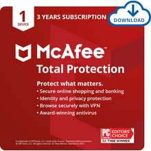 McAfee Total Protection Antivirus Software 1 Device 3 Year Licence include VPN (enrolled auto-renewal)
