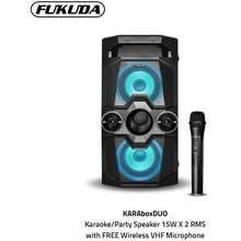 Fukuda Karaoke Speaker System Karabox Duo Fas525X2W With Free Wireless Vhf Microphone