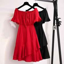 Midi Party Prom Dress Sexy Off Red Shoulder Size Plus Clothing Women Dresses Korean 4Xl
