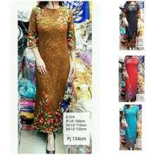 Import Long Dress Pesta Brokat Bordir Mewah Gamis Pesta Premium Jumbo