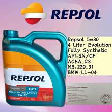 Repsol 5W30 Elite Evolution Long Life Fully Synthetic Engine Oil 4 Liter Distributed By:Umw Lubricant