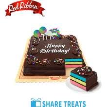 Red Ribbon Rainbow Dedication Cake Jr 8x8 (SMS eVoucher)