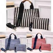 Marhen.J Marhen J Rico Stripes Canvas Tote Bag Set Pouch Stripes -Tas Wanita F002