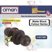 aman Cylindrical Entrance Door Lock 5871- Black (SILVER NORMAL LOCK)