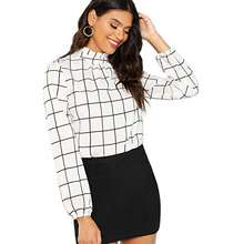 aab02d3c50a Romwe Women s Elegant Printed Stand Collar Workwear Blouse Top Shirts Black  and White Medium