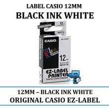 Casio label tape cartridge 12mm black ink white