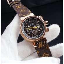 Louis Vuitton Jam Tangan Lv Chrono Leather Kulit Super Premium Jam Wanita