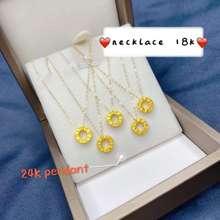 Saudi Gold 18k Necklace with 24k Hongkong Gold Love Pendant