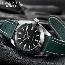 PARNIS Watch Men 40Mm Mechanical Sapphire Crystal Casual Leather Luminous Waterproof Men'S Automatic Watch
