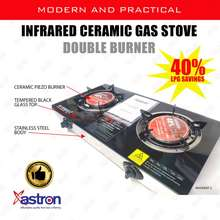 Astron Double Burner Infrared Ceramic Burner Tempered Glass Top Gas Stove