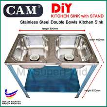 CAM DIY Stainless Steel Double Bowls Kitchen Sink with Stand (800 x 460 x 820mm)