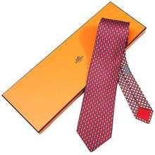 Hermès Cà Vạt Cravate Rhinoferoce Rouge/Bleu Moyen/Blan 626165 Màu Đỏ