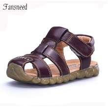 b61a574edd7 CHI ldren shoes genuine leather cowhide sandals half hole single shoes  casual comfortable summer male