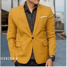 Jas Pria - Blazer Single Breasted Formal Stylist Mustard Color (Int:S)