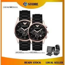 Armani [Original & Warranty] Tazio Chronograph Rose Gold Black Dial Silicon Couple Watch Jam Tangan Ar5905