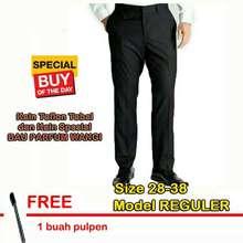 Standard SumberRejekiJeans - Superior - Celana Panjang Formal Pria Kerja Kantor Hitam Size 28-38