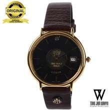 Lobor D2703M A Jam Tangan Pria - Gold - Brown Leather Strap